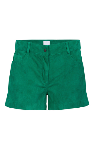 Medium lala berlin green liv velour shorts