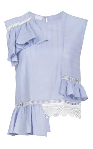 Medium lala berlin blue lene ruffle top