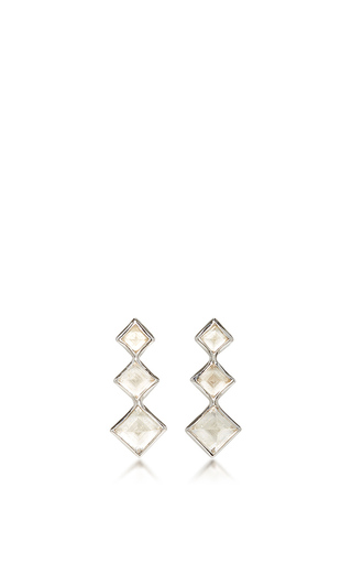 Medium lynn ban jewelry white 3 point gem ear climbers in white topaz