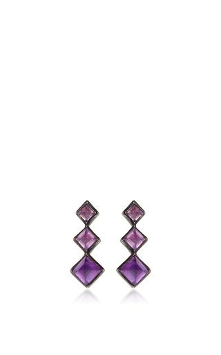 Medium lynn ban jewelry purple 3 point gem ear climbers in amethyst