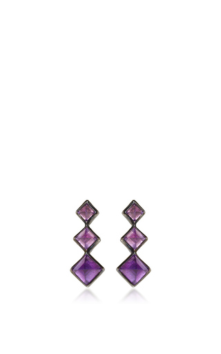 Medium lynn ban jewelry purple 3 point gem ear climbers in amethyst