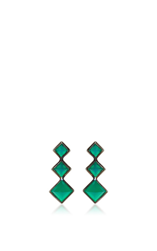 Medium lynn ban jewelry green 3 point gem ear climbers in green onyx