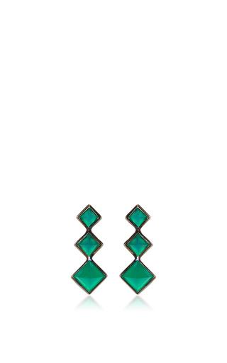 Medium lynn ban jewelry green 3 point gem ear climbers in green onyx