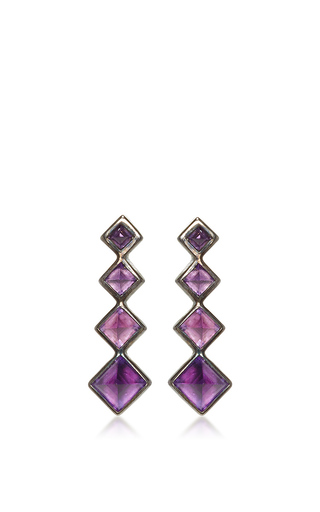 Medium lynn ban jewelry purple 4 point gem ear climbers in amethyst