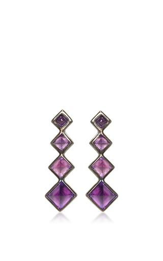 Medium lynn ban jewelry purple 4 point gem ear climbers in amethyst