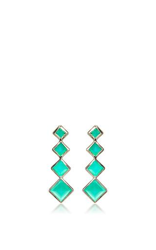 Medium lynn ban jewelry green 4 point gem ear climbers in green onyx