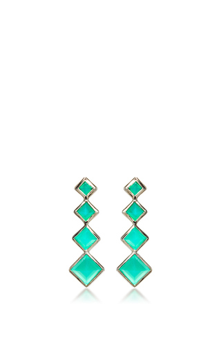 Medium lynn ban jewelry green 4 point gem ear climbers in green onyx