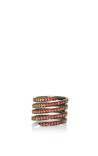 Medium lynn ban jewelry orange ombre pave coil ring in orange sapphires