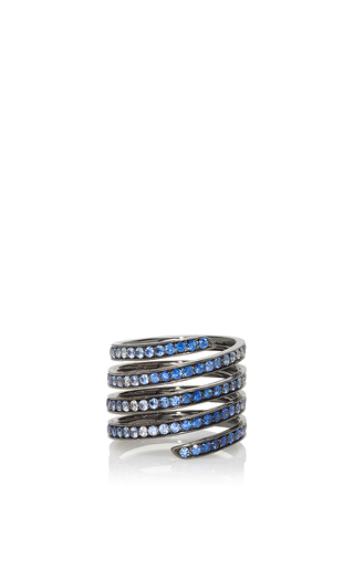 Medium lynn ban jewelry blue ombre pave coil ring in blue sapphires