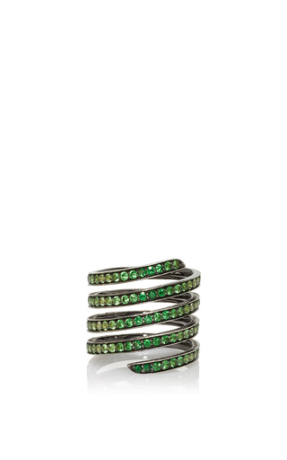 Medium lynn ban jewelry green ombre pave coil ring in tsavorite