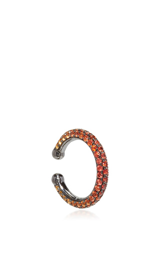 Medium lynn ban jewelry orange ombre pave orbital hoop in orange sapphires