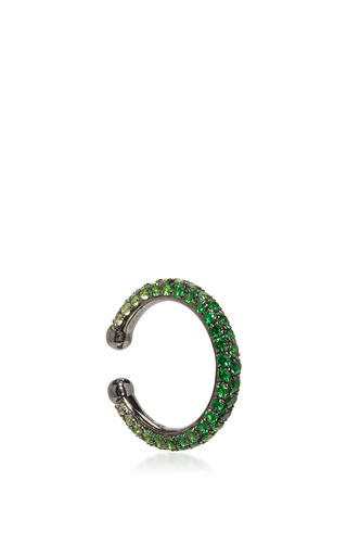 Medium lynn ban jewelry green ombre pave orbital hoop in tsavorite