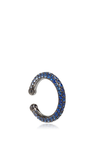 Medium lynn ban jewelry blue ombre pave orbital hoop in blue sapphires
