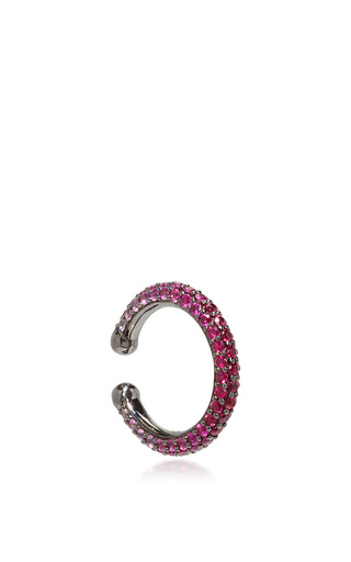 Medium lynn ban jewelry pink ombre pave orbital hoop in rubies and pink sapphires