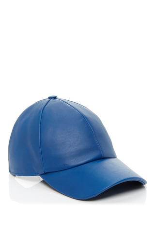 Medium vianel ny blue leather baseball cap