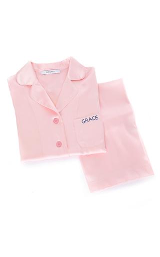 Medium sleeper light pink garden rose silk pajama set