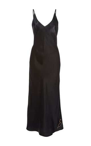 Medium sleeper black kate silk slip dress