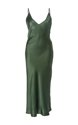 Medium sleeper dark green sofia silk slip dress