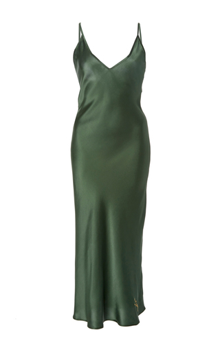 Medium sleeper dark green sofia silk slip dress