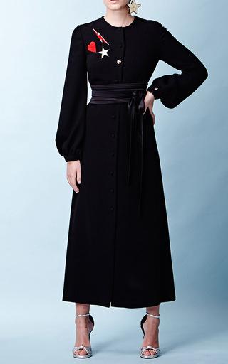 Medium racil black iman long sleeve crepe dress 2