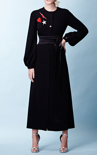 Medium racil black iman long sleeve crepe dress 2