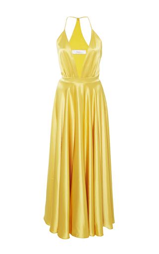 Medium racil gold bianca satin halter dress