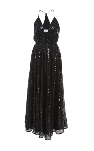 Medium racil black bianca sequins halter dress