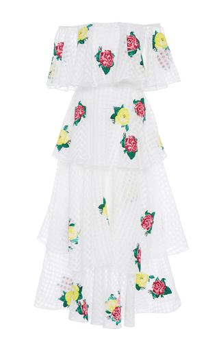 Medium zayan the label print mona tiered off the shoulder dress