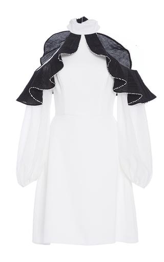 Medium zayan the label white margo open shoulder ruffle dress