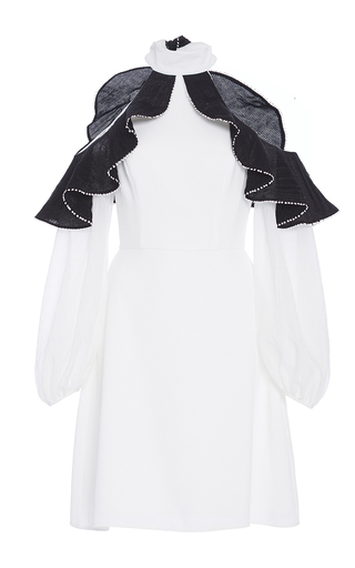 Medium zayan the label white margo open shoulder ruffle dress