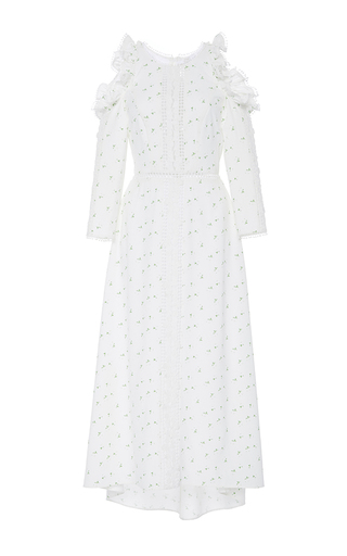 Medium zayan the label white safia exposed shoulder printed dress