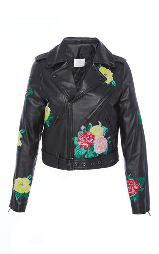 Medium zayan the label black maddie embroidered biker jacket