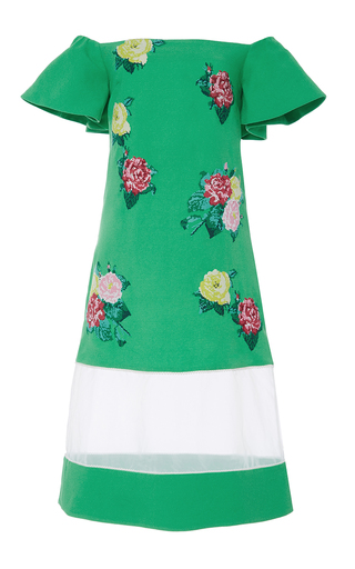 Medium zayan the label green gwenth sheer panel floral dress