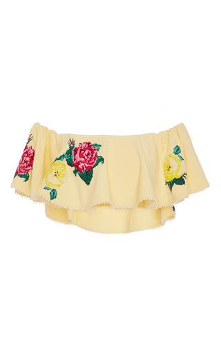 Medium zayan the label yellow judy ruffled floral crop top