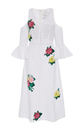 Medium zayan the label white netta eyelet trumpet sleeve dress
