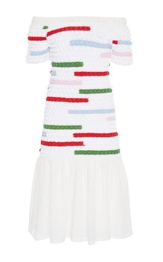 Medium zayan the label multi ocancia crochet off the shoulder dress