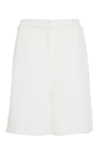 Medium zayan the label white sena pearl trim bermuda shorts