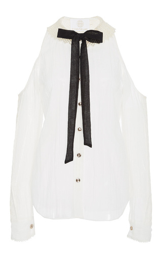 Medium zayan the label white lenny bow collar shirt