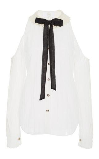 Medium zayan the label white lenny bow collar shirt