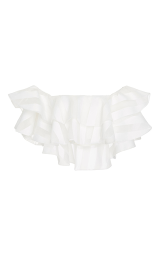 Medium zayan the label white poppy ruffled crop top