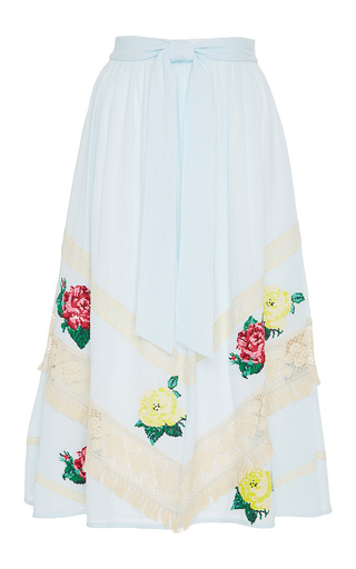 Medium zayan the label light blue jojo floral lace skirt