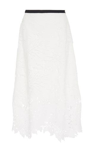 Medium zayan the label white alexa palm leaf lace skirt