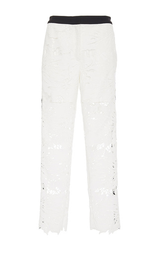 Medium zayan the label white marnie lace trousers with side stripe