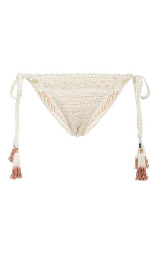 Medium she made me white intricate flower crocheted bikini bottom