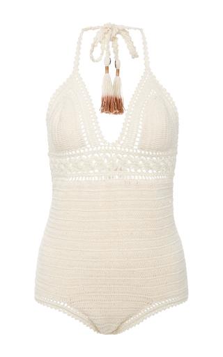 Medium she made me neutral intricate flower crocheted swimsuit
