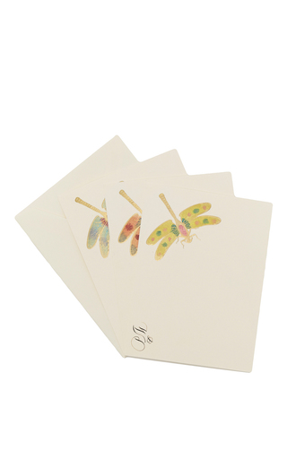 Medium bernard maisner neutral dragonfly custom note cards