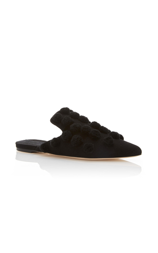 Medium sanayi 313 black pompom embellished slippers