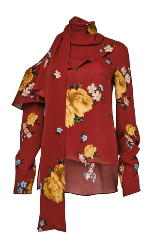 Medium magda butrym red long sleeve one shoulder blouse