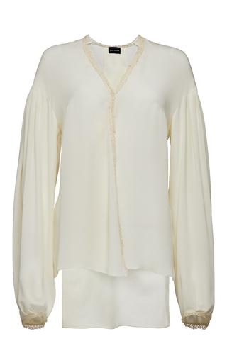 Medium magda butrym white v neck long sleeve asymmetric blouse
