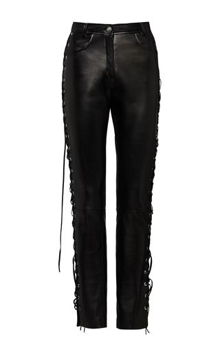 Medium magda butrym black leather lace up trousers